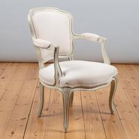 Pair of Large French Louis XV Style Painted Upholstered Armchairs (6 of 9)