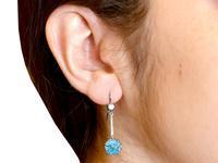 7.80ct High Zircon & 0.29ct Diamond, 18ct White Gold Drop Earrings - Antique c.1910 (9 of 9)