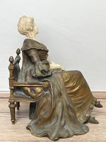 Important Art Nouveau Bronze Marble Seated Lady Sculpture By Xavier Raphanel (10 of 39)