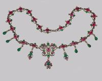 Victorian Pearl Pink & Green Paste Necklace Antique Austro Hungarian Swag & Scroll Necklace (3 of 7)
