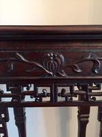 Tall Chinese Hardwood Jardinière Plant Stand with Marble Top (9 of 11)