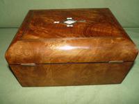 Quality Inlaid Burr Walnut Jewellery Box + Tray. c1875. (6 of 12)