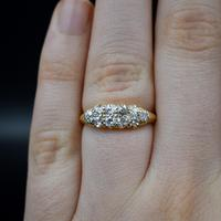 Antique Old Cut Diamond 10 Stone Double Row 18K 18ct Yellow Gold Scroll Ring (10 of 10)