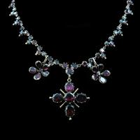 Antique Georgian Flat Cut Garnet 15ct Gold Full Riviere Necklace with Pansy Drops & Cross