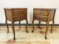 Vintage French Pair of Louis Style Bedsides Tables Oak Cabinets (4 of 12)