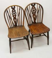 Near Pair of Victorian Windsor Wheel Back Kitchen Chairs in Beech & Elm (11 of 12)