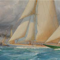 A rare painting of 1930 America's Cup racing off Newport, signed 'Harold Wyllie' (12 of 12)