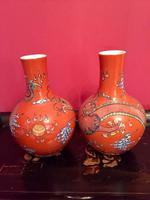 Pair of Chinese Red Oxide Five Claw Dragon Vases c.1900 (6 of 10)