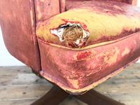Antique Distressed Leather Swivel Armchair (6 of 8)