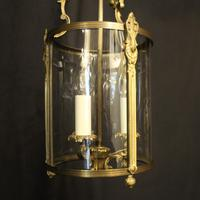 French Gilded Convex Triple Light Antique Hall Lantern (2 of 10)