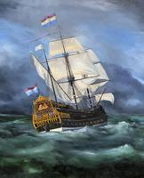 Huge Magnificent 20th Century Vintage Seascape Oil Painting - Battleship in Rough Sea (5 of 12)
