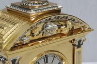 French Belle Epoque Brass & Silver Gilt Mantel Clock (5 of 9)