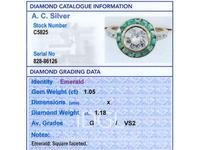 1.05ct Emerald & 1.18ct Diamond, 18ct Yellow Gold Dress Ring c.1930 (6 of 9)