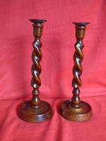 Pair of Wooden Barley Twist Candlesticks (2 of 8)