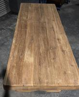 Large French Bleached Oak Trestle Farmhouse Dining Table (2 of 16)