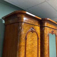 Spectacular Quality Figured Burr Walnut Antique Triple Wardrobe (4 of 10)