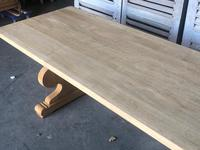 Large French Bleached Oak Trestle Farmhouse Dining Table (9 of 14)