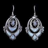 Antique Victorian Scottish Montrose Agate Earrings Silver c.1860 (2 of 6)