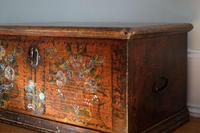 19th century painted pine coffer with floral artwork to the front (3 of 19)