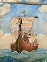 Unusual Original 19thc Seascape watercolour Painting - 11thc Vikings & Longboat (9 of 11)