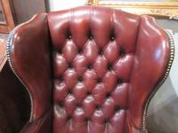 Superb Antique Leather Buttoned Wing Armchair (2 of 8)