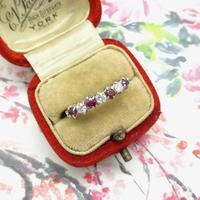 Vintage 18ct Ruby & Diamond seven stone ring ~ 40th wedding Anniversary (5 of 10)