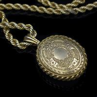 Antique Oval Buckle Fancy Locket and Rope Chain Sterling Silver Gold Gilt Necklace (4 of 11)