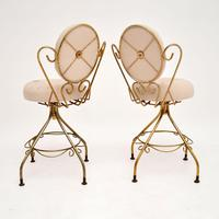 Pair of Vintage French Brass Swivel Side Chairs (4 of 10)