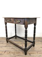 Antique Oak Side Table with Geometric Drawers (6 of 10)
