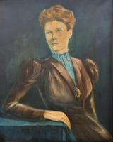 Stylish Mid 20th Century Vintage Portrait Oil Painting of a Trendy Seated Lady (2 of 11)