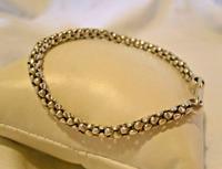 "Vintage Silver 925 Popcorn Bracelet 1970s Big Shepherds Hook Clasp 7 3/4"" Length (3 of 11)"