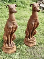 Pair of Large Outdoor Weathered Cast Iron Greyhound Dogs (9 of 9)