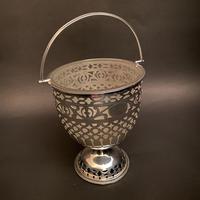 Silver Edwardian Opaline Glass Liner Fretwork Pedestal Sugar Basket