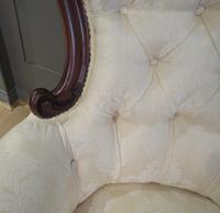 Victorian Walnut Armchair upholstered Cream Brocade (5 of 11)