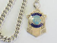 Single Silver Pocket Watch Chain & GWR Fob (2 of 3)