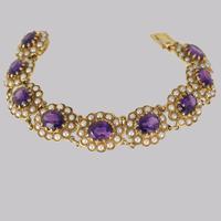Victorian Amethyst & Seed Pearl Bracelet 9ct Gold Antique Bracelet c.1890 (2 of 11)