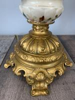 Victorian Gilded Spelter & Ceramic Table Lamp, Rewired & Pat Tested, Shade Included (10 of 10)