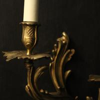 French Pair of Bronze Antique Wall Sconces (6 of 10)