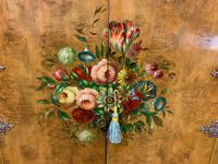 Floral Painted Burr Walnut Cabinet on Stand (6 of 15)