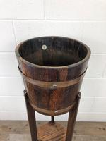 Antique Oak Coopered Jardinière Stand by Lister & Co (6 of 7)