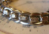 Antique Pocket Watch Chain 1910 Art Nouveau Silver Chrome Graduated Albert Nos (5 of 11)