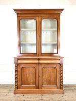 Antique Victorian Mahogany Glazed Bookcase (2 of 9)
