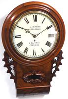 Rare Antique Drop Dial Wall Clock 8 Day Single Fusee Movement Signed John Griffith Carnarvon (4 of 5)