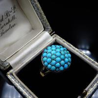 Antique Pavé Turquoise Bombé Cluster 9ct Gold & Silver Ring (6 of 8)