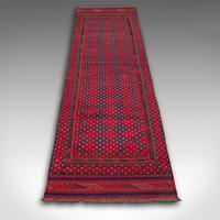 Long Antique Meshwari Runner, Persian, Wool, Kilim, Hallway, Carpet c.1900 (2 of 12)