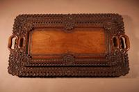 Two Colonial Very Fine Carved Wooden Trays (6 of 13)