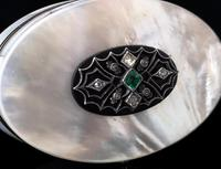 Art Deco Diamond and Emerald snuff box, 18ct gold, Mother of Pearl (12 of 14)