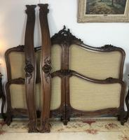 Antique French Bespoke Carved & Upholstered Extra Large Bed Frame (9 of 16)