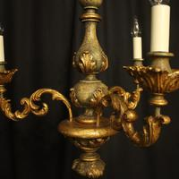 Florentine Gilded Triple Light Polychrome Chandelier (3 of 10)