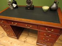 Handsome Antique Pedestal Desk with New Black Leather to Top (19 of 21)